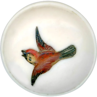 Button--Late 19th C. Pyralin Celluloid with Inlaid Agate Bird Aflutter