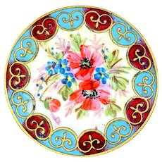 Button--Large Late 19th C. Champleve and Hand Painted Enamel Flowers in Fleur de Lys Border
