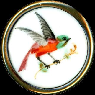 Button--Mid-19th C. Hand Painted Porcelain Orange Bird in Brass--Medium