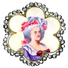 Button--Large Late 19th C. Emaux Peints Enamel Lady in Hat in Scallop Shape with Bright Cut Steels