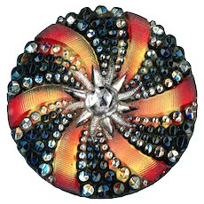 Button--Large Late 19th C. Lacy Glass Pinwheel and Starburst