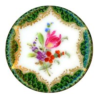 Button--Very Fine Early 19th C. Dresden Style Porcelain Tulip in Diapered Border