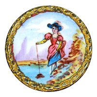 Button--Late 19th C. Emaux Peints Enamel Lakeside Hat Lady--Medium