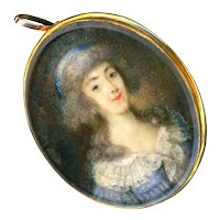 Pendant--Late Georgian Lady in Blue Portrait Under Glass in Gold