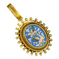 Pendant--Mid-19th C. Roman Mosaic Pinkish Doves in 18 Karat Gold--Glazed Compartment