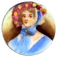 Button--Mid-19th C. Hand Painted Transfer on Porcelain Bonnet Lady Medium