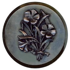 Button--Scarce Extra Large 19th C. Gutta Percha Dianthus Flowers