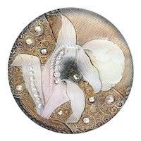 Button--Late 19th C. Lacy Glass Tulip