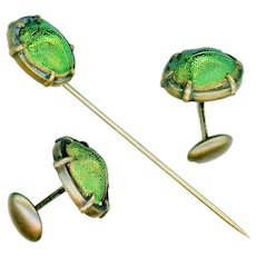 Stick Pin and Cufflinks--Early 20th C. Scarabs in Gilded Brass