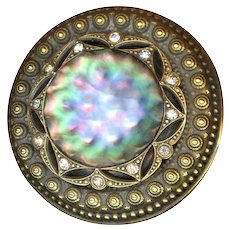 Button--Huge 19th C. Iridescent Carved Pearl in Brass with Rhinestones