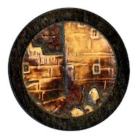 """Button--Large Late 19th C. """"Embossed Leather"""" in Wood--Junction of Walls"""