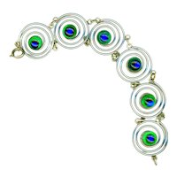 Bracelet--Vintage Art Moderne Peacock Eye Glass Jewels in Bright White Metal