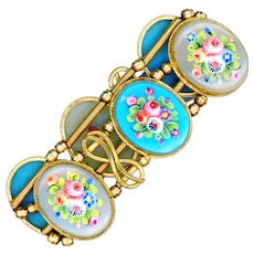 Bracelet--Mid-19th C. Fine Enameled Flowers on Glass in Gold-plated Brass