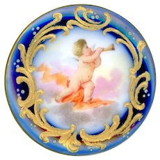 Cuff Button--Large 19th C. Hand Painted Porcelain Cherub in Clouds with Horn
