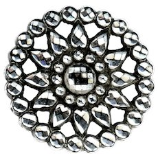 Button--Large Victorian Reticulated Daisy in Silver Luster Black Glass