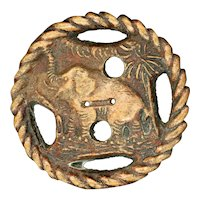 Button--Extra Large Vintage Compressed Wood Elephant