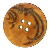 Button--Large Incised and Tinted 19th C. Vegetable Ivory 4-hole