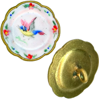 Button--Small 19th C. Dinner Plate Enamel with Colorful Hand Painted Bird & Border