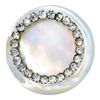 Button--Large Vintage White Pinkish Pearl with Rhinestone Inner Border