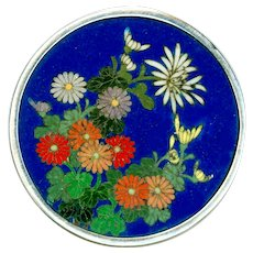 Button--Large Very Fine 19th C. Cloisonne Enamel Chrysanthemums in Sterling Silver