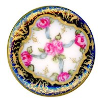 Button--Very Fine 19th C. Hand Painted Porcelain Rose with Lacy Gold Border