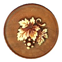 Button--Large 19th C. Lathed Wood with a Celluloid-ivoroid Grapes and Leaf Escutcheon