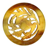 Button--Hand Pierced Vintage Plastic Acorns Really Imitate Vegetable Ivory