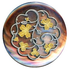 Button--Large 19th C. Deluxe Parcel Gilt Shamrocks Grill Over Iridescent Pearl