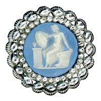 Button--Large 18th C. Georgian Jasperware Mythological Figure in Steel Sea Shell Border