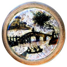 Button--Large Georgian 18th C. Reverse Painted Glass Rustic Scene on Gilded Copper