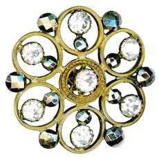 Button--Large 19th C. Hexagonal Open Work Brass, Cut Steel, and Rhinestones