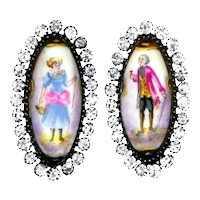 Buttons--Pair of Fine 19th C. Large Hand Painted Porcelain Figures in Rhinestone Borders