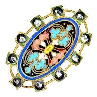 Button--Large 19th C. Open Border Champleve Neo-Renaissance Enamel