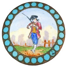 Button--Late 19th C. Hand Painted Enamel Gentleman with Fishing Pole in Champleve Border