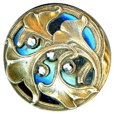 Button--Art Nouveau Stylized Ginkgo Leaves in Brass Over Lovely Blue Steel--Medium