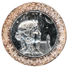 Button--Large Modern Art Nouveau Lady with Lyre in Silver-plate and Copper