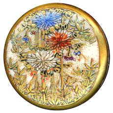 Button--Fine Late 19th C. Satsuma Pottery Chrysanthemums in Bamboo--Medium