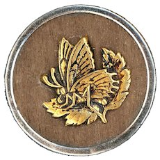 Button--Large Late 19th C. Brass Butterfly on Wood Background