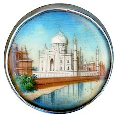 Button--Mid-19th C. Hand Painted Miniature of Taj Mahal  Under Glass in Sterling Silver