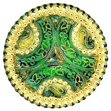 Button--Large Late 19th C. Lacy Glass with Green Foil Back and Paisleys