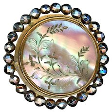 Button--Large Engraved Iridescent Pearl in Bright Cut Steels Paris Back
