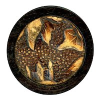 Button--Large Late 19th C. Embossed Leather in Wood--Foliate Design