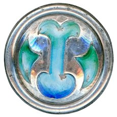 Button--Early 20th C. Arts & Crafts Champleve Enamel on Sterling Silver Medium