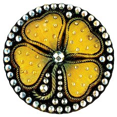 Button--Large Late 19th C. Lacy Glass Golden Clover or Shamrock