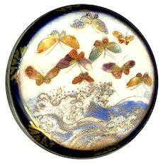 Button--Large Late 19th C. Japanese Satsuma Butterflies Over Ocean Waves