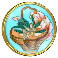 Button--19th C. Cloisonne Enamel Basket of Flowers Like Conch Shells