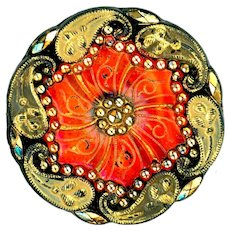 Button--Late 19th C. Paisley Border Fire Opal Orange Lacy Glass
