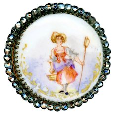 Button--Large 19th C. Hand Painted Porcelain Shepherdess in Bright Cut Steels