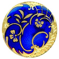 Button--Late 19th C. Rococo Ombrant Bleu de Roi Chapleve Enamel on Brass