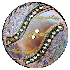 Button--Mid-19th C. Bright Cut Steel Trimmed Carved Pearl Sew-through